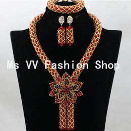 Wholesale Necklace Sets Silver Jewellery Nigerian Wedding African Bead Gift wedding anniversary gifts india crystal bridal jewelry set for women G01