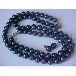 9-10MM SOUTH SEA NATURAL BLACK PEARL NECKLACE BRACELET EARRING SET 14k YELLOW GO