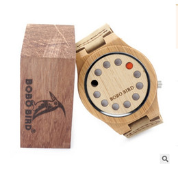 Wholesale BOBO BIRD Punk style Mens Watches Top Brand Luxury Antique Bamboo Wooden Holes Quartz Watches With big Real Leather Straps