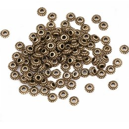 Wholesale 100pcs mm Vintage Tibetan Silver Wheel Gear Spacer Beads Metal Charms For DIY Jewelry Making