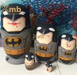 Wholesale Batman Superhero Animated Comic Cartoon Movie Matryoshka Wooden Stacking Dolls For Home Decor Christmas Gift