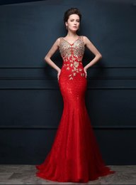 New 2016 Red V-neck Halter Mermaid Evening Dresses Dazzling Crystal Beaded Lace Applique Prom Dress Sexy Long Party Dresses Plue Size