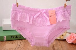 #B809 Female girl lovely gift box set(5 pcs mixed designs) panties middle waist lace bow cotton underwear panties underpants