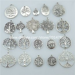 Wholesale 13677 set Mix Vintage Silver Tone Tree Plant Tree of Life Pendant Dangle Charm Jewelry