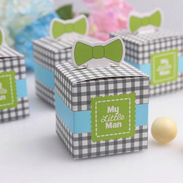Wholesale 100pcs Mustache Candy Box My little Man Baby Tie Baby Shower Boy Birthday Party Chocolate Box Unique and Beautiful Design