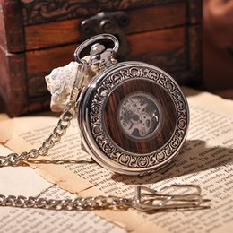 Wholesale Wooden Silver Round Men Mechanical Pocket Watch Roman Numbers Necklace Vine Antique Luxury Gift Box Retro Pocket Watch