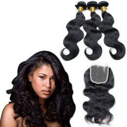 Descuento teñidos haces de pelo de malasia onda del cuerpo de Malasia haz de pelo humano con cierre de cordones 4pcs / lot grado 7a virginal del pelo puede ser teñido y blanqueado