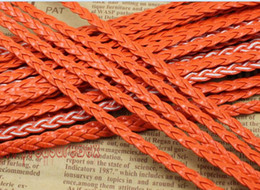 Free Ship 100Meters Orange Flat Braided Leather Cord String Rope, Jewelry Beading String, For Bracelet & Necklace, 5mm Wide