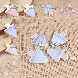 Wholesale 10Pcs Fashion Gold Plated Silver Plated Rose Quartz Opalite Opal Stone Christmas Tree Pendant Necklace Charm Jewelry