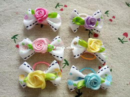 Handmade Designer Dog Accessories Grooming Rose Cute Ribbon Hair Bow Poodle Dog Bow accessories pet suppy 50pcs