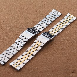 Compra Online Bandas de acero inoxidable enlaces-Accesorios de lujo reloj de correa de hebilla de seguridad plegable de banda de acero inoxidable de 5 perlas brazalete de eslabones sólido pulido 22 de 24 mm de plata del envío gratis