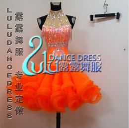 2016 Custom Latin Dance Dress Rhinestones Clothing For Dance Stage Costumes ChaCha Dancing Dress Organce Dancewear Competition Dress