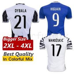 Wholesale Bigger Size XL XL XL Juventus Jerseys HIGUAIN MARCHISIO DYBALA POGBA Juve Camiseta de futbol XXL XXXL XXXXL Football Uniforms