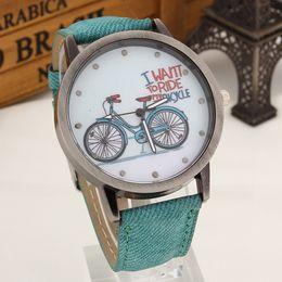 Wholesale New Fashion Women Girls Kids Bike Watches Vine Wristwatch Canvas Fabric Strap Bicycle Pattern Quartz Cartoon Watch gift Clock