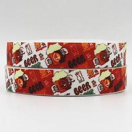 Wholesale ribbon OEM inch mm beer design printed grosgrain ribbon yds roll headband