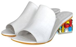 Summer is the mouth of the fish with coarse code Leather Heels lady diamond cool sandals