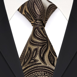 Free Shipping F10 Paisley Floral Brown Chocolate Yellow Mens Ties Neckties 100% Silk Jacquard Woven Wholesale Brand New