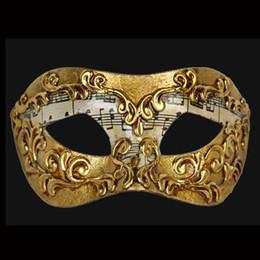 Wholesale 2016 Fashion New Handmade half face Paper pulp Gold Music Motif Masquerade Paper Mache Mardi Gras Mask