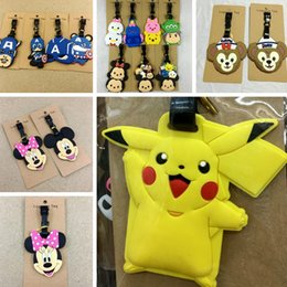 Wholesale Poke Pikachu Silicone Luggage Tag Cartoon Mickey Minni Iron Man Luggage Identification Travel Suitcase Tag Anime Luggage Lables LJJP272