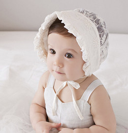 Wholesale Sweet Princess Hollow Out Baby Girl Hat Summer Lace up Beanie cotton lace ruffle embroidered Bows Bonnet Enfant for M A8997