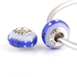 12 Pcs a Lot Silver Plated Blue Glass Beads DIY Charm Round Shape Fit For Pandora Charms Bracelet