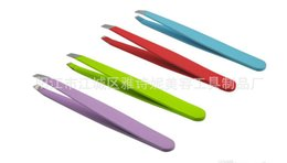 Wholesale Colorful Stainless Steel Slanted Tip Eyebrow Tweezers Hair Removal Tools Lowest Price Best Promotion