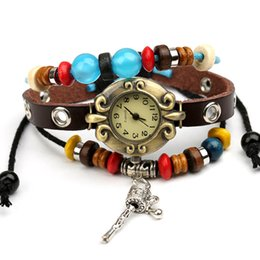 Wholesale Adjustable Button PU Bracelets Vine Paved Seed Beads Macrame Feminina Fashion Accessories Wrist Watch Bracelet
