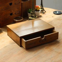 Wholesale Wooden Small Drawer Storage Box Office Desk Household Bedside Sorting Storage Box