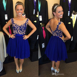Royal Blue Prom Dresses Cheap Knee Length Party Dress Backless Chiffon Cocktail Dresses with Appliques Hot