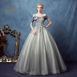 100%real silver grey slash bowknot collar beading court ball gown medieval dress Renaissance Victoria Antoinette  Belle Ball