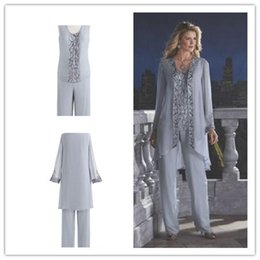 2016 Mother Of The Bride 3 Piece Pant Suit Chiffon Beach Wedding Mother's Groom Dress Long Sleeves Beads Mothers Formal Wear