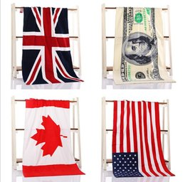 Wholesale 2016 color CM USA UK flag EUROS Unisex cotton stripe printed beah towels bathing towel Shower Gym Fitness Camping Towel