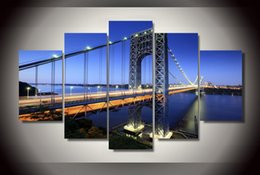 5 Piece HD Printed george washington bridge Painting Canvas Print room decor print poster picture canvas Free shipping