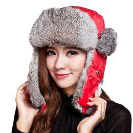 Mens volets casquettes d'hiver de l'oreille en Ligne-Chapeaux de fourrure Unisex Chapeau de bombardière Rex Rabbit Hommes de fourrure hiver chaude chaude chapeaux de neige russie bouchons d'oreille d'extérieur bombardier béret de dôme ethnique mongol
