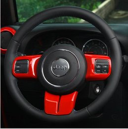 Wholesale Interior Accessories for For Jeep Wrangler JK steering wheel Multifunction button decorative cover sticker frame