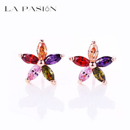 LA PASION Very nice 18K Rose gold Plated 5 pcs Marquise-cut multicolored Swiss CZ Sun Flower Stud Earring