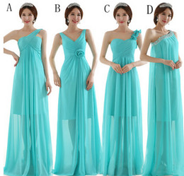 Pleated Long Chiffon Bridesmaid Dress Lace Up 2016 A Line Wedding Party Dress 5 Style Mixed Order