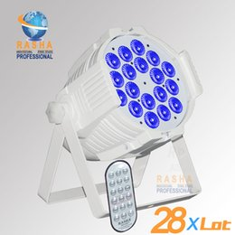 Wholesale 28pcs RASHA HEX Hot W in1 RGBAW UV Wireless IR Remote Control LED Par Light Aluminum Wiifi LED Par64 Can For Disco Party Stage Event