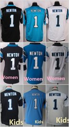 Wholesale 1 Cam Newton Black White Blue New Football Jersey Elite Game Limited Women Youth Kids Stitched Jersey Free Drop Ship