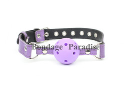 Purple BDSM Bondage Gags Gear Slave Trainer Mouth Bite Ball Gag Adult Games Products