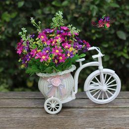 Wholesale Home Decorations Artificial Flowers Cart Set Bicycle Woven Baskets Artificial Flower Silk Flower Car Kit