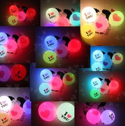 Globos del corazón en Línea-TE AMO Led Ballons Valentines flash globos del corazón que brilla intensamente Látex Globos de la boda del globo del amor Matrimonio partido hincha PPA456