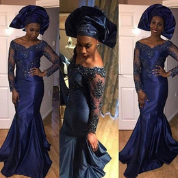 2019 Mermaid Navy Blue Satin Arabic Dubai African Long Prom Dresses with V Neck Full Lace Sleeves Appliques Beaded Nigerian Evening Gowns