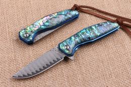 Wholesale High End Damascus Blade Steel Flipper Folding knife EDC Pocket Folding Blade knife Gift knife Blue Titanium Handle Ball Bearing Sys