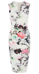 Fashion Flower Print Women Sheath Dress V-Neck Casual Dresses 074A666
