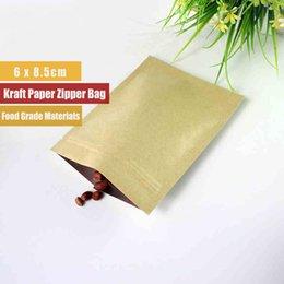 Wholesale Kraft Paper Sachet x8cm Food Grade side Seal Aluminium Foil Zip Lock Kraft Bags