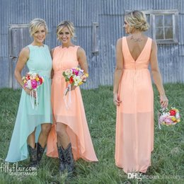 Under 70$ Cheap Mint Orange Hi Lo Bridesmaid Dresses Chiffon Maid of Honor Dresses Pleated Short Country Wedding Party Gowns