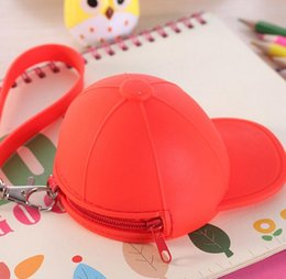 Wholesale Cute cartoon candy color baseball cap coin bag mini hat key silica gel female change hand bag gift DHL