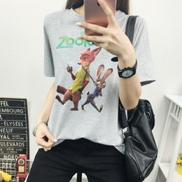 Wholesale 2016 new Zootopia Animal T shirt Animated Cartoon Printing Round Collar Short T shirt BF Short T shirt Loose Version Couple T shirt
