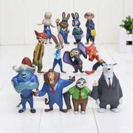 Película de acción en venta-La última película Zootopia 12pcs / set Cartoon Utopia Acción Figura Pvc Mini Modelos 4-8cm Nick Fox Judy conejo muñecas